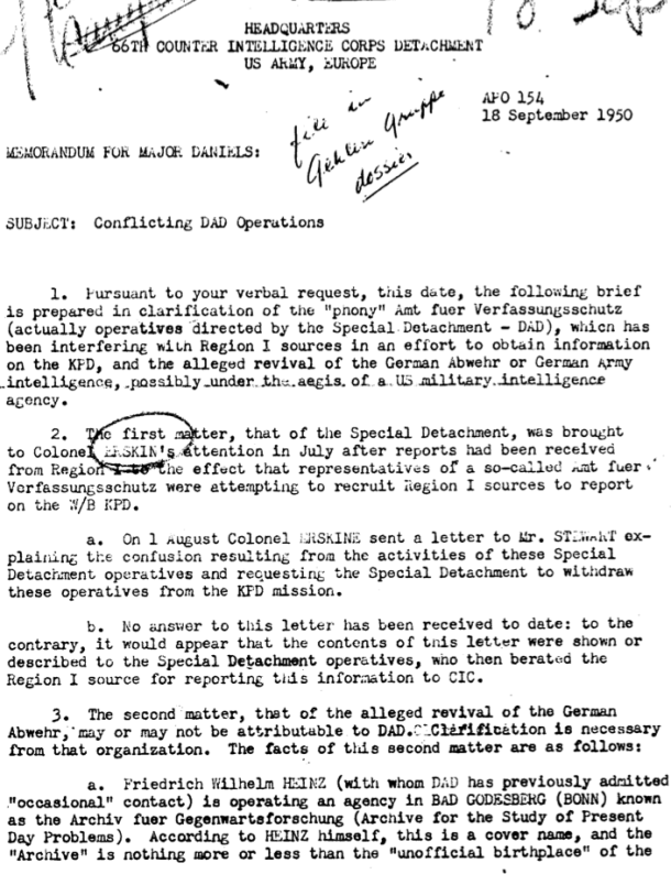 "One page of an US-army report mentioning Heinz's ""Archiv für Gegenwartsforschung"", 1950"