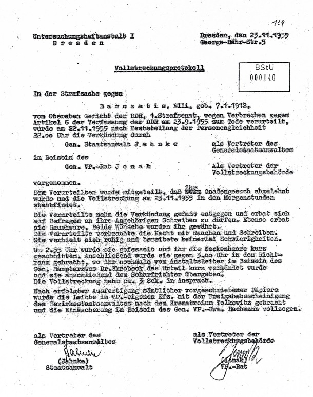 Official report about Elli Barczatis' execution in November 1955, Stasi file
