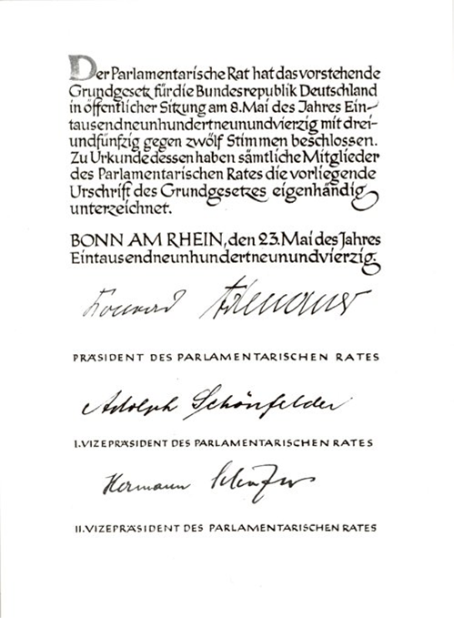 Basic Law for The Federal Republic of Germany 1949, facsimile of the official signatures